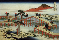 Hokusai, Yatsuhashi-Brücke / Farbholzschnitt 1831 von AKG  Images