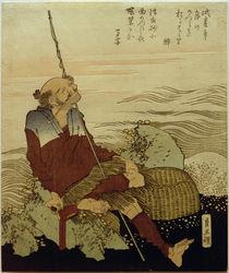 Hokusai, Fischer am Strand / Farbholzschnitt zw. 1818–1830 von AKG  Images