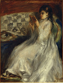 Young Woman in White Reading / A. Renoir / Painting, 1873 by AKG  Images