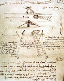Leonardo, flying machine / drawing by AKG  Images