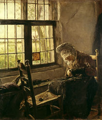 """Max Liebermann, """"Old woman darning by the window"""" / painting by AKG  Images"""