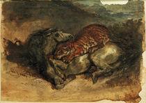 E.Delacroix, Tiger, ein Pferd anfallend von AKG  Images