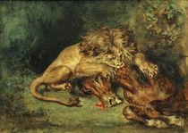 E.Delacroix, Löwe, ein Pferd reißend von AKG  Images