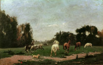 Horses Frolicking in the Meadow / S. Lépine / Painting by AKG  Images