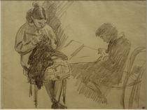 A.Sisley, Sitzendes Mädchen beim Stricken un Sitzender Junge, lesend von AKG  Images
