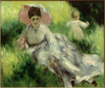 Woman with a Parasol and Small Child on a Sunlit Hillside / A. Renoir / Painting,  1874-1876 by AKG  Images