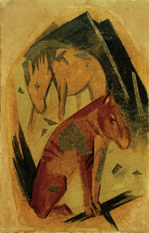Franz Marc, Zwei Pferde vor blauem Berg by AKG  Images