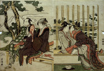 Hokusai, Azuma und Yogoro im Altschnee ... / Farbholzschnitt by AKG  Images