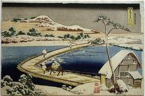 Hokusai, Bootsbrücke bei Sano / Farbholzschnitt 1831 by AKG  Images