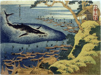 Hokusai, Walfischfang / Farbholzschnitt 1832–34 von AKG  Images
