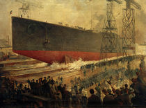 F.Schwormstädt, launching of the SMS Hindenburg / painting by AKG  Images