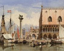 Venedig, Segelschiffe vor Dogenpalast / Aquarell v. Werner by AKG  Images