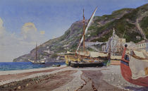 Amalfi, Fischerboote am Strand / Aquarell von H.Hermanns by AKG  Images