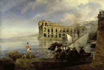 O.Achenbach, Bucht bei Neapel mit Palast der Königin Anna . by AKG  Images