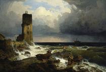 A.Achenbach, Große Marine mit Leuchtturm by AKG  Images