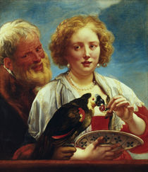 Jordaens / Young woman with old man by AKG  Images