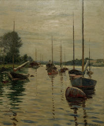Caillebotte / Anchored boats on Seine by AKG  Images