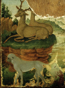 Botticelli and Lippi (?), Landscape with roe deer and apes by AKG  Images