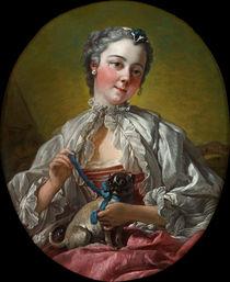 F.Boucher, Junge Frau mit Mops (Marie-Jeanne Buseau) by AKG  Images
