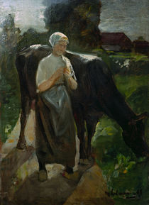 Max Liebermann / Girl and Cow / Painting by AKG  Images