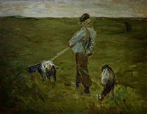 Liebermann / Boy with Goats / Painting by AKG  Images