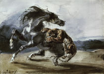 Tiger Attacking a Wild Horse / E. Delacroix / Watercolour c.1826 by AKG  Images