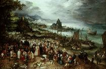 Jan Bruegel d. Ä., Seehafen mit Predigt von AKG  Images