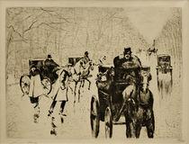 L.Ury, Winterliche Tiergartenallee mit Pferdedroschken von AKG  Images