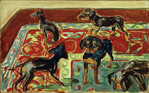 Five Puppies on the Carpet / E. Munch / Painting c.1919 by AKG  Images