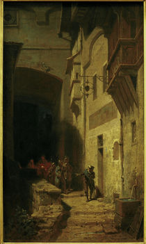 C.Spitzweg, nightwatch patrol / painting by AKG  Images