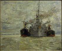 M. Slevogt, Kohle bunkerndes Kriegsschiff im Hamburger Hafen by AKG  Images