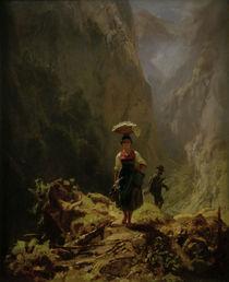 C.Spitzweg, Dirndl und Jäger im Gebirge von AKG  Images