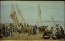 P. S. Kröyer, Morgen bei Hornbaek. Die Fischer kommen an Land von AKG  Images