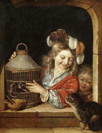 Children with Birdcage and Cat / E. H. v. d. Neer / Painting by AKG  Images