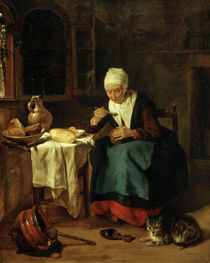 Woman Eating Broth / G. Metsu / Painting, 1656/58 by AKG  Images