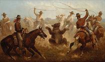 J.Walker, Cowboys fangen einen Bären mit Lassos von AKG  Images