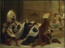 Maria Stuart...die erste Messe hörend / Gem. v. Emanuel Leutze von AKG  Images