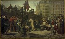 Feburarevolution 1848, Pariser Barrikaden / Gem. v. Martersteig von AKG  Images