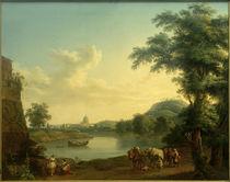 Rom, St. Peter v. d. Milv. Brücke gesehen / Gemälde v. Hackert by AKG  Images