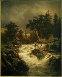 A.Achenbach, Nordischer Wasserfall mit Regenbogen by AKG  Images