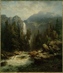A.Leu d. Ä., Norwegische Landschaft mit Wasserfall von AKG  Images