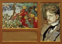 En Saga - Fantastische Landschaft mit Porträt Jean Sibelius / A.Gallen-Kallela von AKG  Images