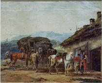 W. v. Kobell, Pferdewechsel eines Reisew. von AKG  Images