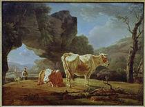 W. v. Kobell, Landschaft mit Rindern von AKG  Images
