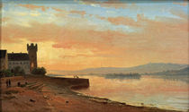 "C.Morgenstern, ""Sunrise at the Rhine near Rüdesheim..."" / painting by AKG  Images"