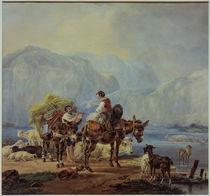 W. v. Kobell, Hirten an einem Gebirgssee by AKG  Images