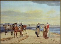 W. v. Kobell, Reiter mit zwei Damen von AKG  Images