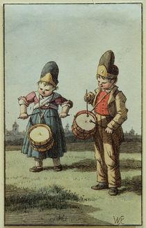 W. v. Kobell, Trommelndes Kinderpaar von AKG  Images