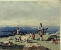 W. v. Kobell, Jäger mit Sennerin und Kind by AKG  Images
