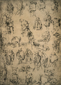 Cripples Beggars and Street Musicians / H.Bosch / Drawing by AKG  Images